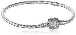 Pandora Damen-Armband Pavé-Kugelverschluss 925 Silber Zirkonia weiß 19 cm - 590723CZ-19