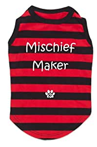 K9 Mischief Maker Stripey Dog T-shirt In Tin, Red/ Black, Small