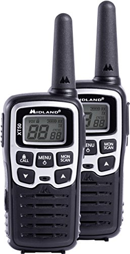 Midland XT50 Ricetrasmittente, 24channels 446.00625 - 446.0937MHz, Nero/Grigio, 2 pezzi