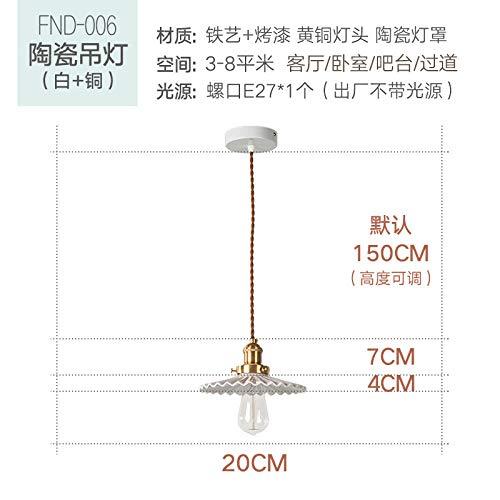 Einfacher Retro-Kronleuchter im japanischen Stil, Bettstange, Balkon, Messing, plissierter Einzelkopf-GlasleuchterWeiße Keramik_Warmes Licht 5W -