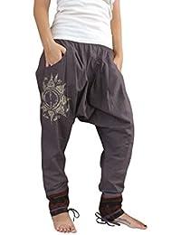 bonzaai sarouel femme mode hippie pantalon de yoga Paed Tidt Yant grau