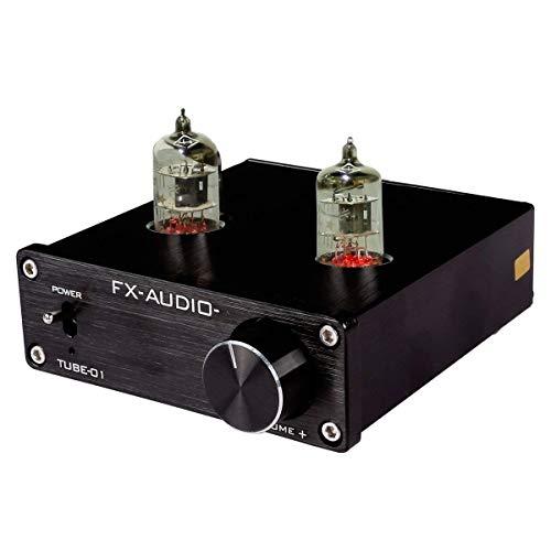 JouerNow FX Tube-01 Pre-Amplifier HIFI Stereo Puffer Vorverstärker, mit Mini 6J1 Ventil & Vakuum Tube, 12V(Schwarz)
