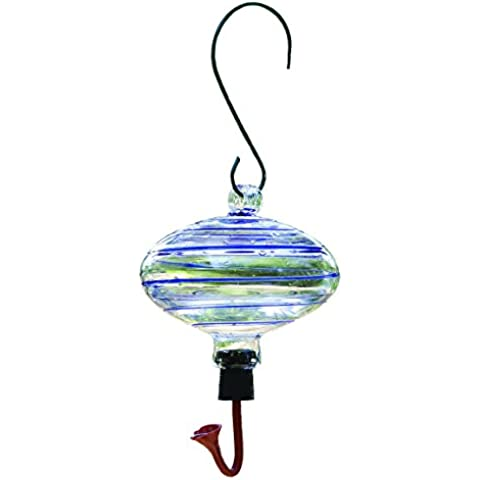 Gardman BA05702 Oval blu Swirl Glass Hummingbird Feeder, 6