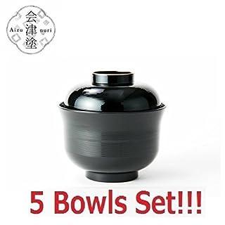 Asahi Kyouyou [5 Bowls Set] Japanese Black Bowls With Lid Set for Rice,Soup etc.