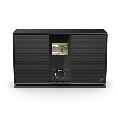 Hama DAB+-/Internetradio mit 2.1 Soundsystem (WLAN/Digital-Radio/Bluetooth/USB/AUX/Spotify/Amazon Music/Streaming, Multiroom, mit Subwoofer, 70 W, Farbdisplay, Fernbedienung/App-Steuerung) schwarz - Dual 2 Subwoofer