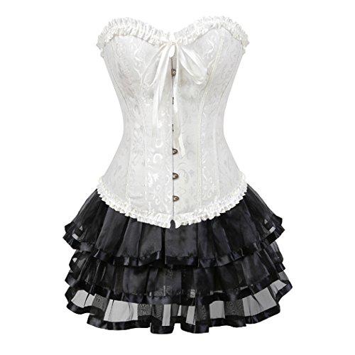(Damenmode Gothic Pattern Floral Korsett Bustier Top + Mini Tutu Set Outfit Party White-M-Black)
