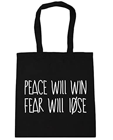 hippowarehouse Peace wird gewinnen und Angst verlieren Tote Shopping Gym Beach Bag 42cm 3838, 10Liter Gr. Einheitsgröße, schwarz