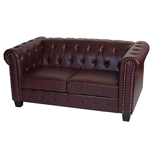 Luxus 3-2-1 Sofagarnitur Couchgarnitur Loungesofa Chesterfield Kunstleder ~ eckige Füße, rot-braun - 4