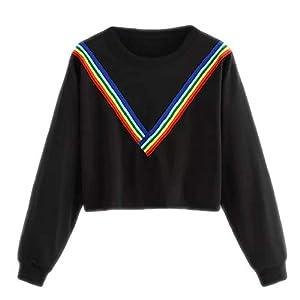 BaojunHT Womens Crop Top Pullover O Neck Rainbow Stripe Sweatshirt Causal Top Tunic Blouse