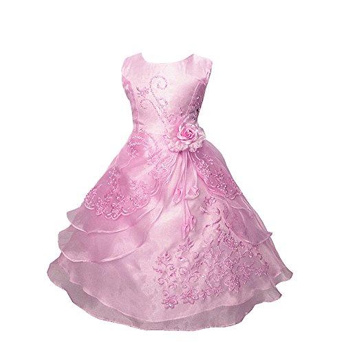 Mädchen Kleid Blume Mädchen Kleiden Funkelnd Pailletten Gürtel Rosa Hochzeit Brautjungfer Bridesmaids Rosa (Kostüm Ballkleid Rosa)
