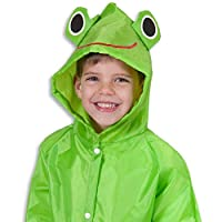 TTCI-RR Raincoats Kid Cute Cartoon Waterproof Long Sleeve Button Closure, Easy Dress And Take Off. Front Button Hooded Raincoat@Green