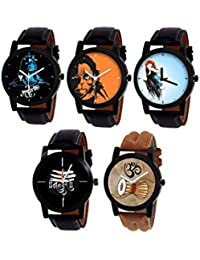 SkyLona Combo Of 5 Mahadev & Hanuman Printed Dial With Leather Belt Casul And Formal Analog Watch - For Men Boys