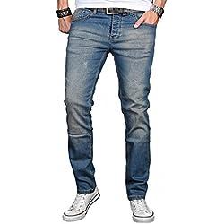 A. Salvarini Herren Designer Jeans Hose Stretch Basic Jeanshose Regular Slim [AS041 - W32 L36], Mittelblau