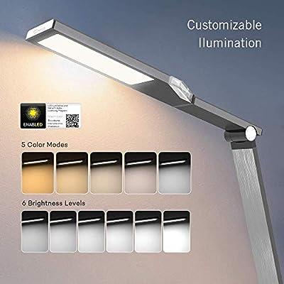 TaoTronics Schreibtischlampe LED Tageslichtlampe 100% Metall 12W Touch-Control 5 Farbetemperaturen und 6 Helligkeiten mit USB-Anschluss 5V 2A zum Aufladen von Smartphones und Tablets, Eisen-Grau