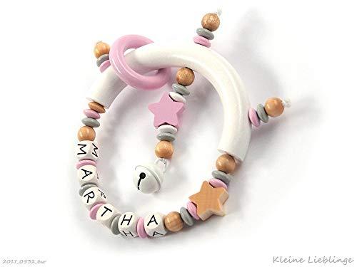 Greifling mit Namen max. 7 Buchstaben Mädchen Holz Stern - Greifring - Tolles Geschenk zur Taufe, Geburt personalisiert Taufgeschenk Geburtsgeschenk