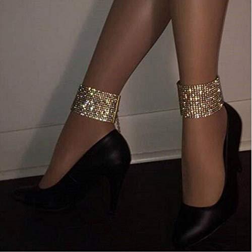 Yean Gold Fußkettchen Kristall Knöchel Armband Funkelnde Fußkette Modeschmuck für Frauen und Mädchen