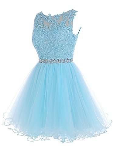 MicBridal® robe de soirée courte, , Robe demoiselle honneur, robe mariage robe de cocktail avec strass en dentelle tulle Bleu clair