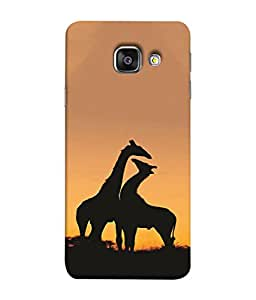PrintVisa Two Cute Couple Giraffe 3D Hard Polycarbonate Designer Back Case Cover for Samsung A9 Pro