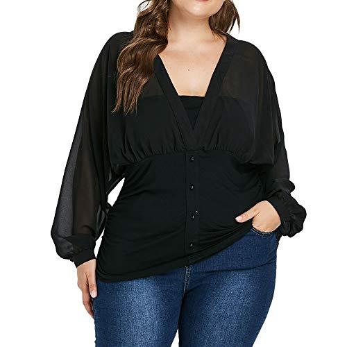 Surplice T-shirt Kleid (MRULIC Geschenk zum Muttertag Mode Frauen Blumendruck Plus Size Belted Surplice Schößchen Bluse V-Ausschnitt Tops (EU-46/CN-4XL, Schwarz))