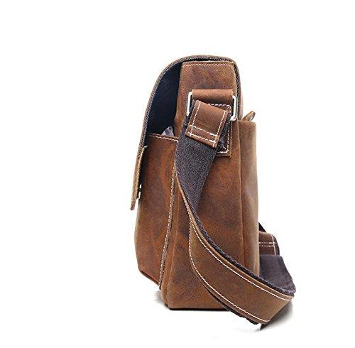 Retro Herren Messenger Tasche Leder Mann Bag Herren Schultertaschen red brown