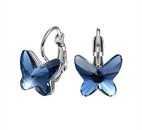 T400 Jewelers bianca Placcato oro gli orecchi Degli elementi di Swarovski Orecchini da donna Orecchini a cerchio farfalla