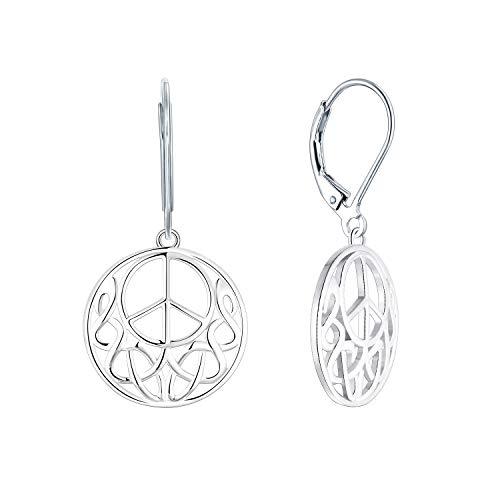 JO WISDOM Damen Ohrringe Hängende Friedenszeichen Peace-Zeichen Silber 925, Ohrringe Keltische Irische Unendlichkeits Knoten