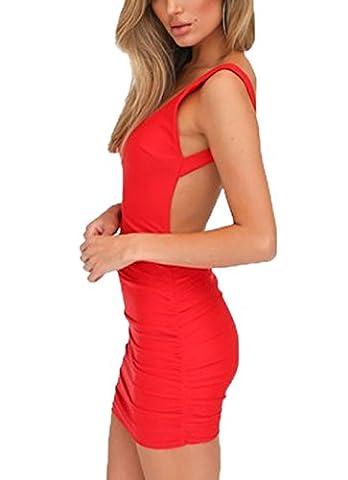 Damen Rückenfrei Ärmellos Partykleid Etuikleid Mini Kurze Abendkleider Bodycon Sommerkleid (M, Rot)