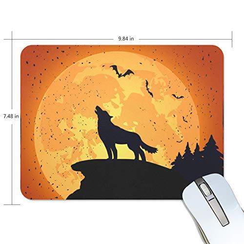 FAJRO Halloween Hintergrund mit Wolf Standard Computer Mauspad Schreibtisch Mauspad Gaming Pad Anti-Rutsch Gummiunterlage und Jersey Oberfläche für Büro, Zuhause