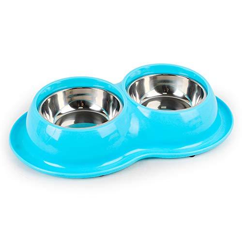 LILIJIA Zwei-in-einem-Edelstahl-Trinkwasser-Feeder Wrap-Around-Tray-Design Effektiv auslaufsicher Umweltfreundliches Material Geeignet für kleine und mittlere Katzen,Blue -