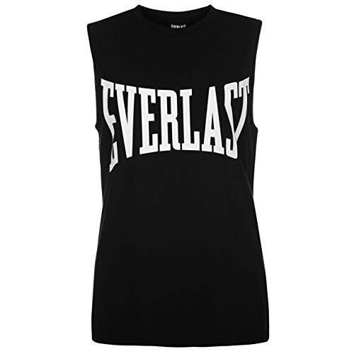 Everlast Damen Tank Top Rundhals Aermellos Leicht Shirt Lockere Passform  Schwarz