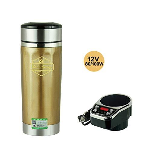 ml vakuumisolierte Edelstahl reisebecher Auto Tasse mit ladegerät Auto gekocht Tasse wasserkocher gekocht Auto mit DC12V / 24 v (Farbe : Gold, größe : -12V/220V) ()