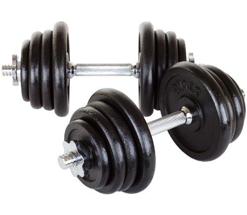 Hop-Sport 40kg (2x20) Guss Kurzhanteln Hantel Set Hanteln Gewichte Hantelscheiben