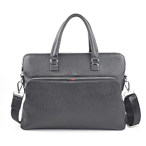 Herren Leder Messenger Aktentaschen Business Laptop Schulter Handtaschen passen in 15,6 Zoll,Black-OneSize - Zwickel-aktentasche Aus Leder