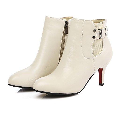 VogueZone009 Donna Cerniera Tacco Medio Luccichio Puro Bassa Altezza Stivali con Rivetto Beige