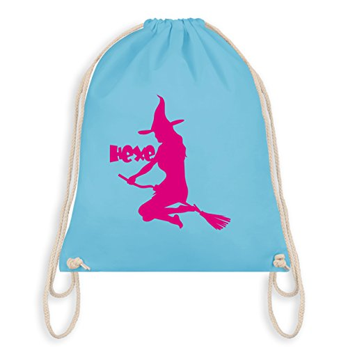 Halloween - Hexe auf dem Besen - Unisize - Hellblau - WM110 - Angesagter Turnbeutel / Gym Bag (Frau Magierin Kostüm)