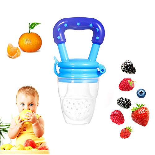 Coupon Matrix - Baby Food Feeder Fruit Pacifier Tinabless Silicone Nipple Teething Pacifiers Teethers CM© toys for Toddlers Kids Infant (Blue)