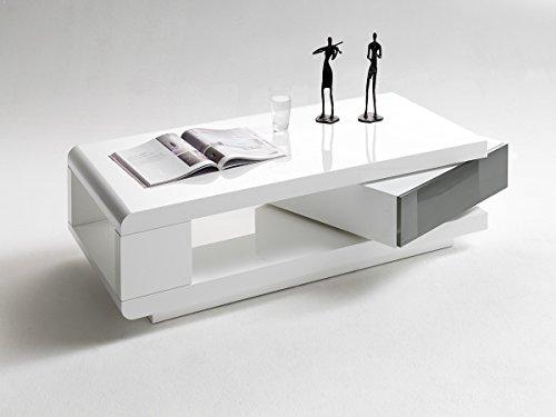 Dreams4Home Couchtisch 'Clou' Hochglanz Weiß Grau 120 x 60 cm Beistelltisch Wohnzimmertisch, Farbe:Hochglanz Grau
