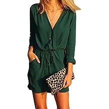 LILICAT Las mujeres de gasa mini vestido cuello en V de verano informal de fiesta de noche vestido de manga larga verde (XL)