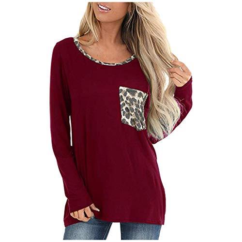 Frauen Tunika Tops und Bluse Leopard Brusttasche Einfarbig Lose Beiläufige T-Shirt Langarm Rundhals Pullover Tops Shirt -