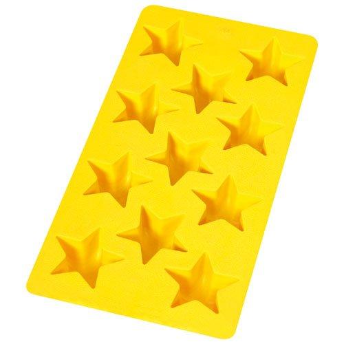 Lékué - Cubitera con Formas de Estrella de Caucho Flexible, 11 cavidades, Color Amarillo