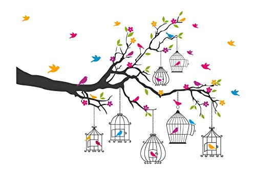 Decals Design 'Branches with Flowers and Birds Cages' Wall Sticker (PVC Vinyl, 50 cm x 70 cm),Multicolour