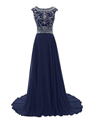 Bridal _ Mall Femme élégant Soirée Vêtements sol Long Strass Beading Prom Balle Vêtements Bleu - Bleu marine