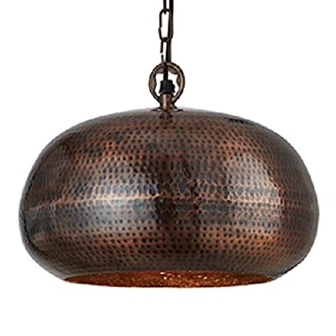 Searchlight Antique Bronze Elipse Hammered Pendant Light with Chain Suspension 400mm Diameter,