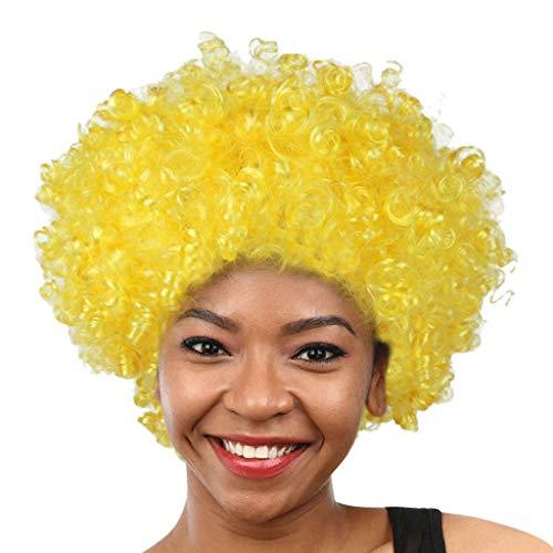 HCFKJ Perücke, 2019 Party Disco Lustige Afro Clown Haar Fußball Fan-Erwachsener Afro Maskerade Haar Perücke (E)