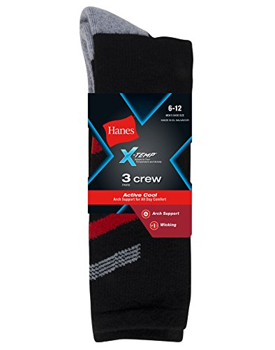 Big And Tall Crew Socken (Hanes x-temp? Herren 's Big & Tall Active Cool Crew Socken, 518/3p, 518/3P)