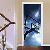 libby-nice Night Sky Basketry 3D Porte Stickers Paysage Étanche Autocollant Salon Chambre Porte Papier Peint Mur Chambre Art 2Pcs