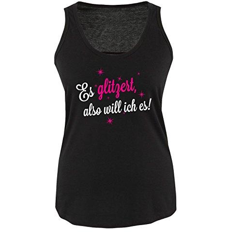 Comedy-Shirts - T-shirt - Senza maniche  - Donna Schwarz / Weiss-Pink