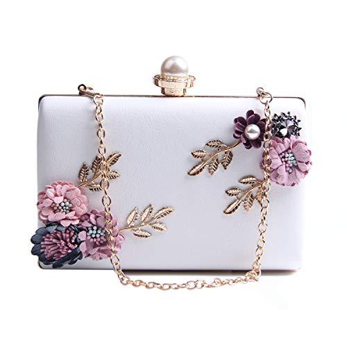 LUI SUI Pochette da pranzo per fiori in raso da donna Perle di perle Portamonete Portamonete con tracolla a catena per Prom