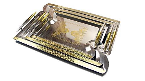 König 3-teiliges Set (Deko-König 3 teiliges Tablett Set mit Goldener Mäander Verzierung)