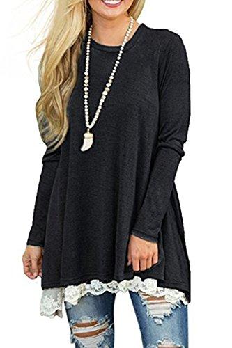 Les Femmes Lace Patchwork Swing Drapée Automne - Hiver Tuniques Robe Maxi Black